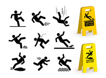 Set Of Falling Person Silhouette Pictogram. Caution Wet Floor Sign. Vector Illustration. Isolated On White Background