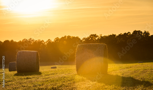 In de dag Oranje hay bails in farm field landscape scene background images