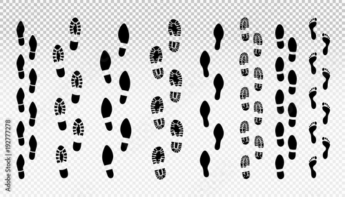 Set of human footprint Canvas Print
