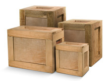 Group Wooden Crates Isolated From White Background