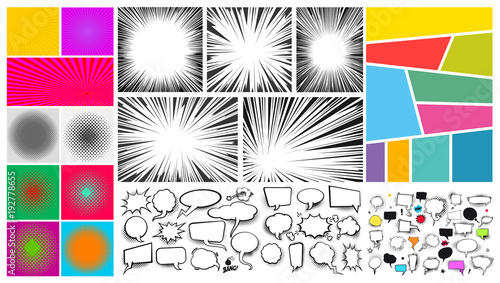 Poster Pop Art Big set of Pop art comic speech bubble sand, radial lines for comic books. Strip background with different colorful panels. Cartoon funny vintage strip mock up. Vector illustration
