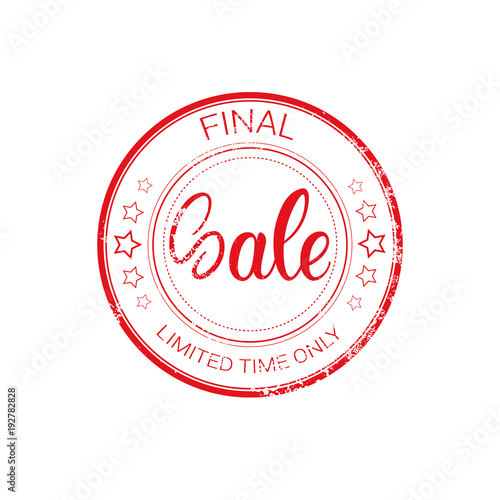 Final Sale Stamp Rubber Old Sticker Design Shopping Badge Icon Isolated Vector Illustration