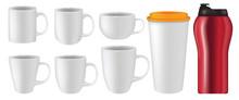 Realistic Mug Collection Vector