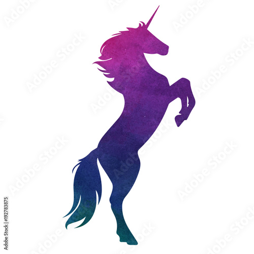 Watercolor vector unicorn silhouette illustration Canvas Print