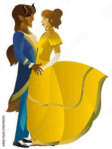 Photo  beauty and beast dancing