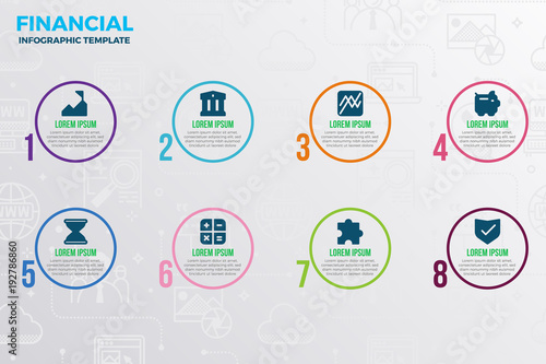 Financial infographic template Canvas Print