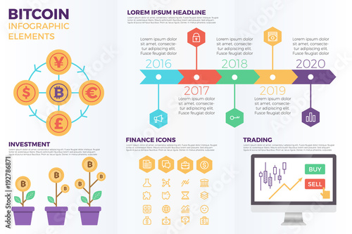 Photo  Bitcoin cryptocurrency infographic elements