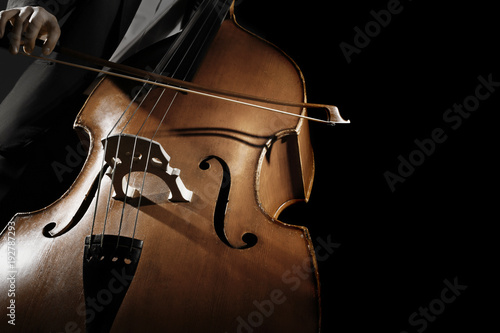 Foto auf Gartenposter Musik Double bass player. Hands playing contrabass strings with bow