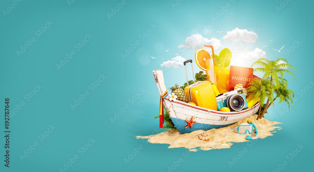 Fototapeta Beautiful Thai boat with suitcase