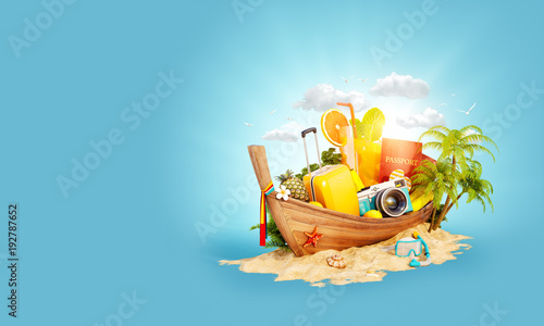 Fotografía  Beautiful Thai boat with suitcase