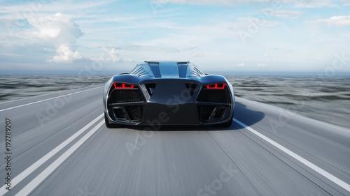 czarny futurystyczny samochód elektryczny na autostradzie na pustyni. Bardzo szybka jazda. Pojęcie przyszłości. Renderowania 3d.