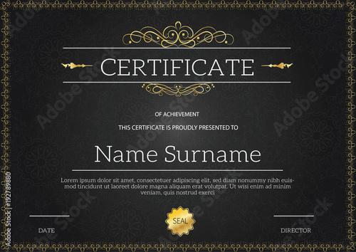 Fotografia  Vintage golden classic certificate ,Certificate of achievement template