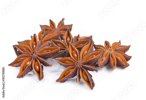 Star anise spice fruits and seeds isolated on white background Wallpaper Mural