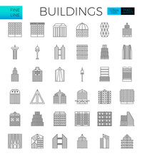 Building In The City Icons Set...