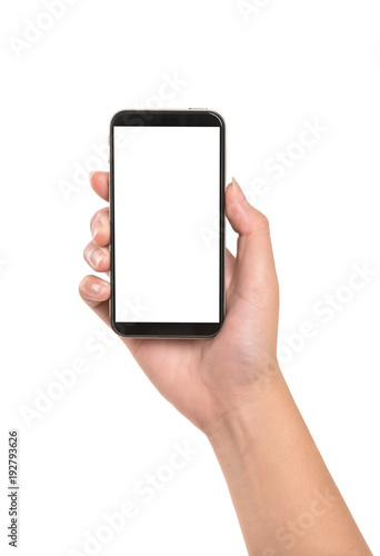 Woman hand holding smartphone isolated on white background. Wall mural