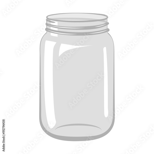 Fotografija Empty open glass jar isolated on white background.