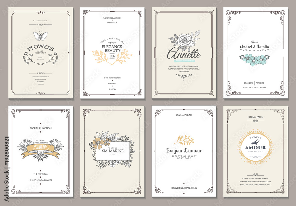 Fototapety, obrazy: Vintage creative cards template with beautiful flourishes ornament elements. Elegant design for corporate identity, invitation, book covers. Design of background products.