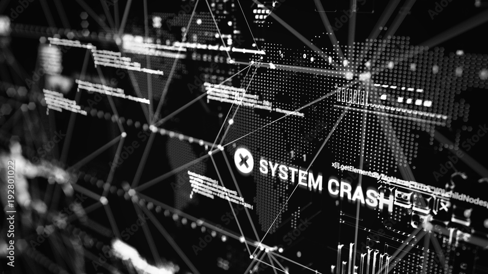 Fototapety, obrazy: 3D rendering. Abstract background concept of cyber security and attack, system crash.