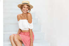 Slim Happy Woman In Summer Clo...