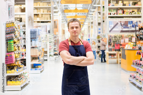 salesman at construction super store Canvas Print