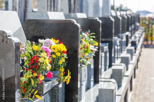 Photo  霊園の墓石と花