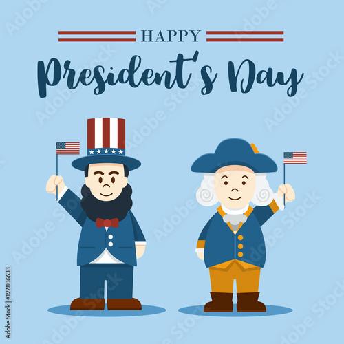 Fotografia  Flat design, Cute Cartoon Abraham Lincoln and George Washington, President's Day