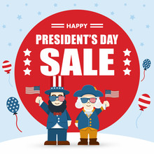 Flat Design, Cute Cartoon Abraham Lincoln And George Washington, President's Day Sale