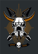 Rock Music Poster With Bull Skull, Microphone And Guitar. Grunge Style. Vector Illustration. Heavy Metal Tattoo.