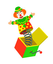 Toy Circus Clown On A Spring P...