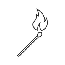 Burning Matchstick Linear Icon