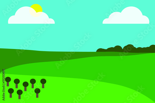 Foto op Canvas Groene koraal Vector of a mountainous landscape with trees, sun and clouds
