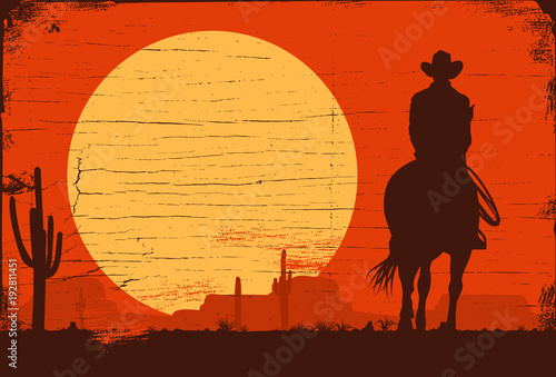 Silhouette of Cowboy riding horses at sunset, vector Canvas Print