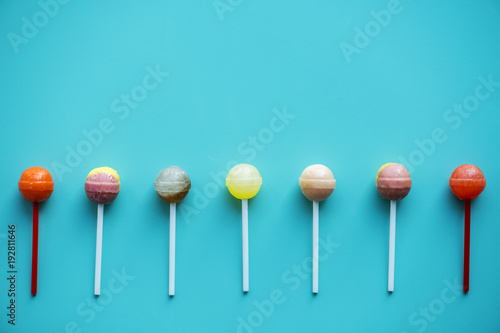 Flat lay of lollipops isolated Poster Mural XXL