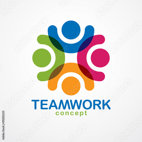 Teamwork And Friendship Concept Created With Simple Geometric