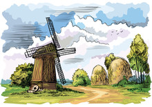 Colorful Landscape With A Windmill. Vector Illustration