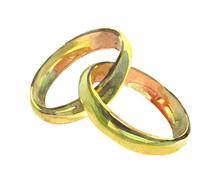 Golden Wedding Rings. Watercol...