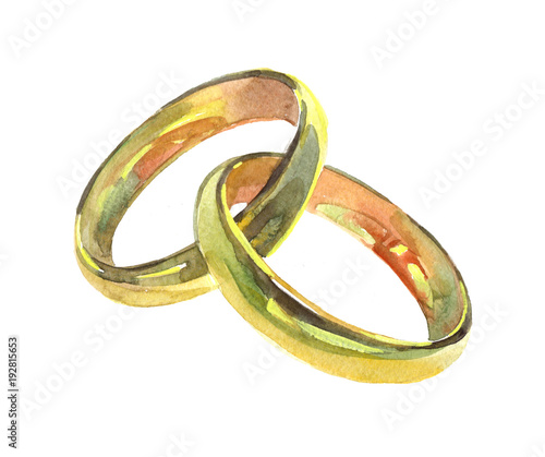 Golden Wedding Rings Watercolor Illustration Isolated On