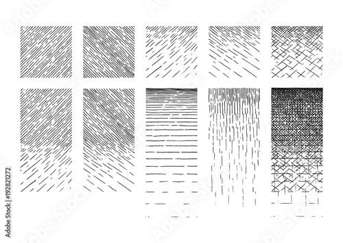 Fotografie, Obraz  Set of Hatching gradient texture