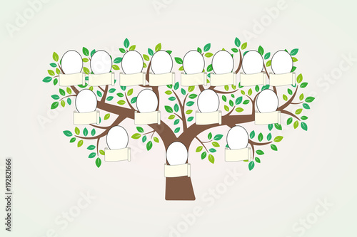 Family tree and nameplate. Vector illustration Fototapet