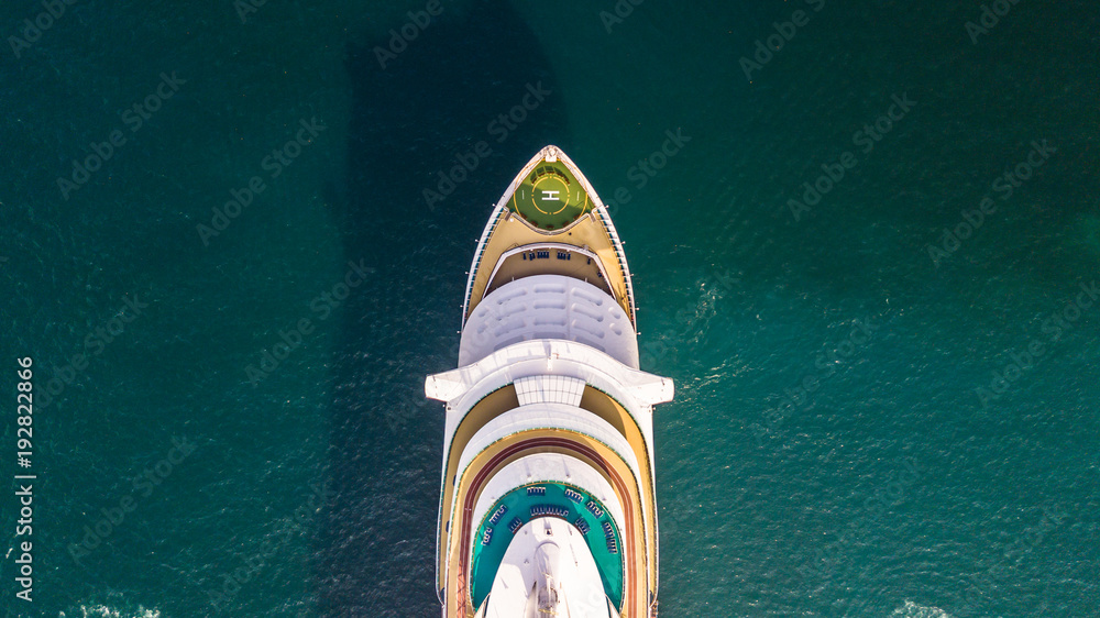 Fototapety, obrazy: Aerial view large cruise ship at sea, Passenger cruise ship vessel, Large Cruise ship sailing across the Gulf of Thailand.
