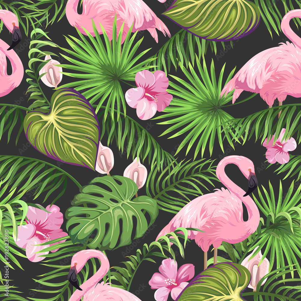 Fototapeta Seamless pattern with tropical leaves, exotic flowers and flamingo