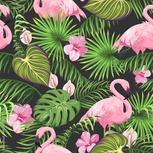Photo Seamless pattern with tropical leaves, exotic flowers and flamingo