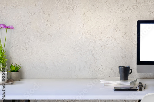 Workspace white wooden desk computer and copy space. Canvas Print
