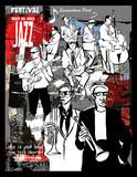 Plakat jazzowy, muzycy na tle grunge - 192841038
