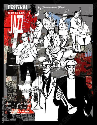 Tuinposter Art Studio Jazz poster, musicians on a grunge background