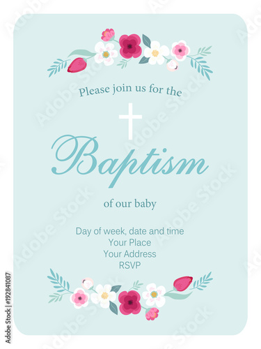 Cuadros en Lienzo Cute vintage Baptism invitation card with hand drawn flowers
