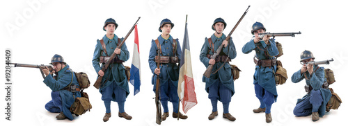 Fotografía  different views of French soldier 1914 1918 isolated on white background