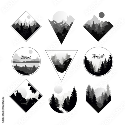 Fototapeta Set of monochrome landscapes in geometric shapes circle, triangle, rhombus. Natural sceneries with wild pine forests. Flat vector for company logo or camping logo obraz