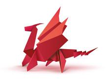 Origami. Origami Dragon. Red O...