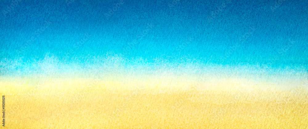 Fototapety, obrazy: Web banner light blue to warm yellow abstract sea and beach gradient painted in watercolor on clean white background